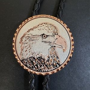 Vintage Cooper Eagle Bolo Tie Woven Leather